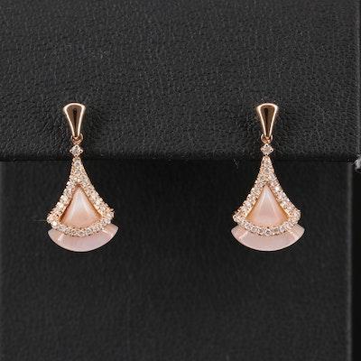 14K Diamond and Mother of Pearl Shell Fan Earrings
