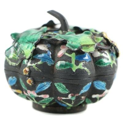 Chinese Enameled Metal Melon Box