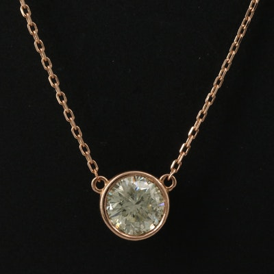 14K Bezel Set 1.02 CT Diamond Solitaire Pendant Necklace