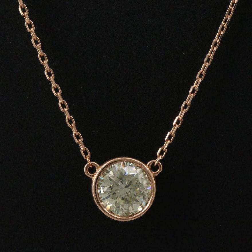 14K Bezel Set 1.02 CT Diamond Solitaire Pendant Necklace
