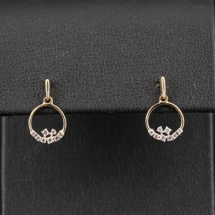14K Diamond Hoop Stud Earrings