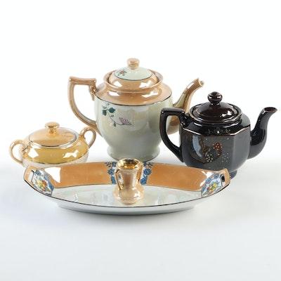 "German ""Celebrate"" Lusterware Sugar Bowl with Assorted Japanese Porcelain"