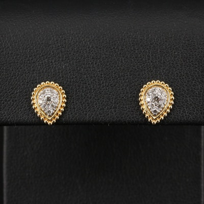 14K Diamond Teardrop Cluster Earrings
