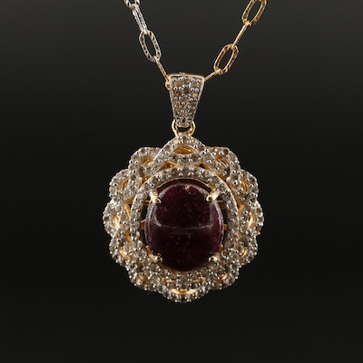 Sterling Silver Corundum and Topaz Pendant Necklace
