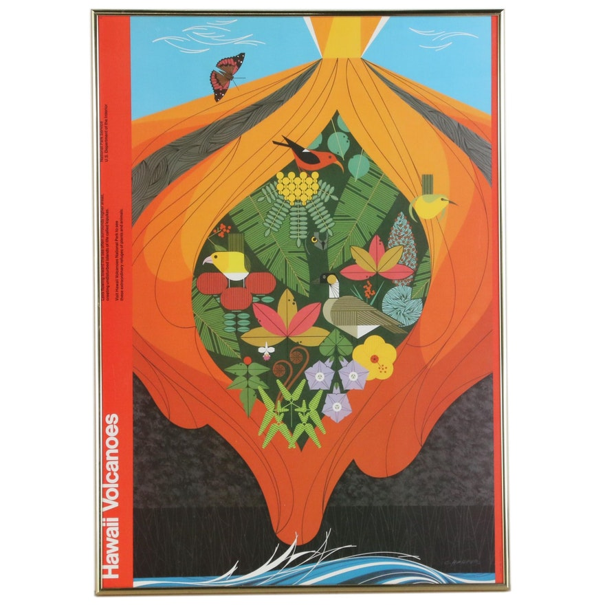 """Offset Lithograph after Charley Harper """"Hawaii Volcanoes"""""""