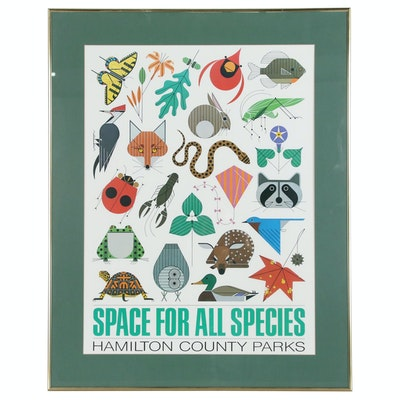 "Offset Lithograph after Charley Harper ""Space for All Species"""