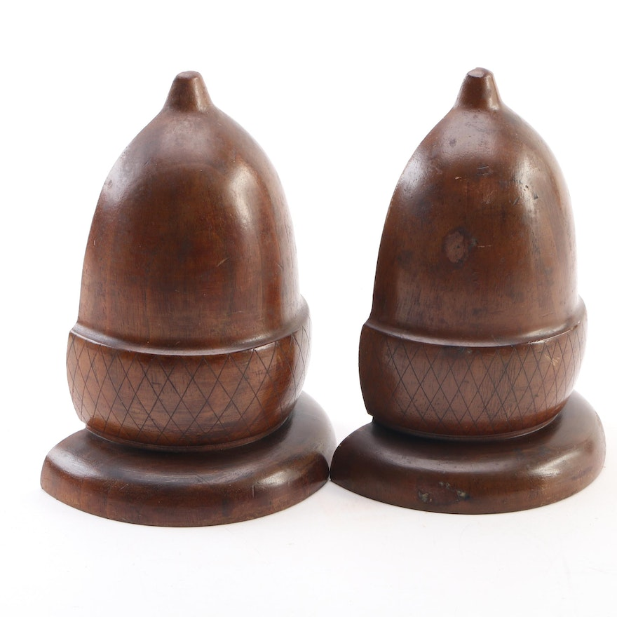 Artisan Carved Acorn Wooden Bookends