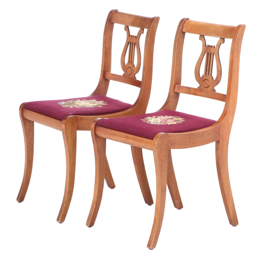 Empire Style Lyre Back Side Chairs, Early to Mid 20th Century