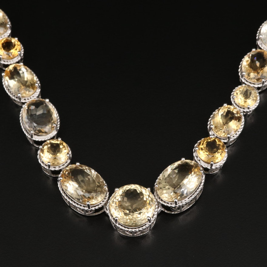 Sterling Silver Graduated Citrine Rivieri Necklace