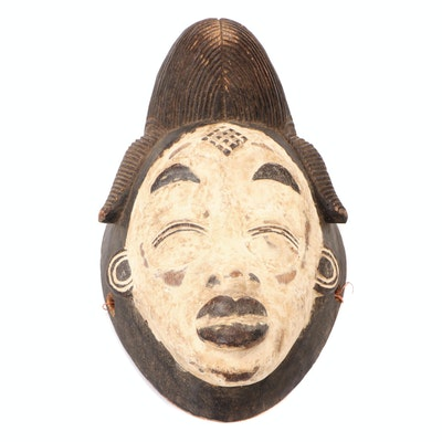 """Punu """"Mukudj"""" Carved Wood Mask, Central Africa"""