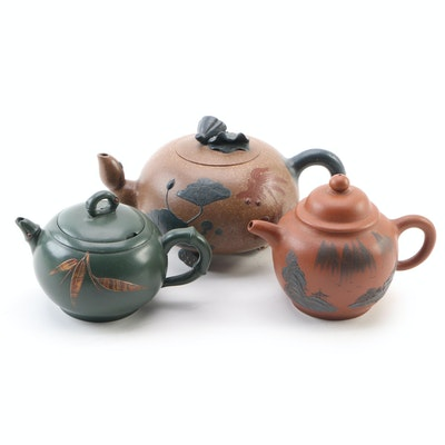 Chinese Yixing Pottery Teapots, Late 20th Century