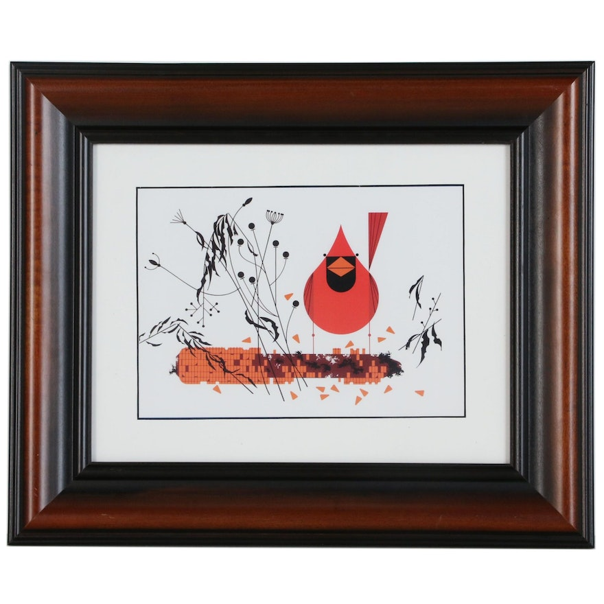 """Offset Lithograph After Charley Harper """"Red and Fed"""""""