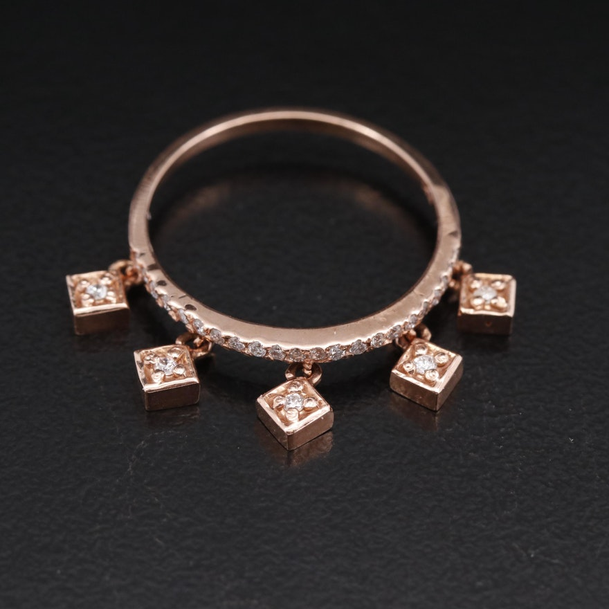 14K Rose Gold Diamond Ring with Dangle Charms