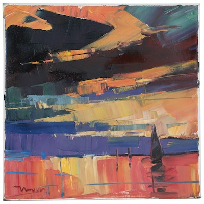 "Jose Trujillo Oil Painting ""Sunset Sail,"" 2019"