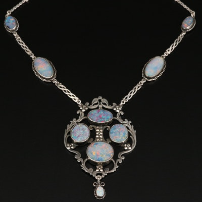 Sterling Silver Opal Doublet Stationary Pendant Necklace