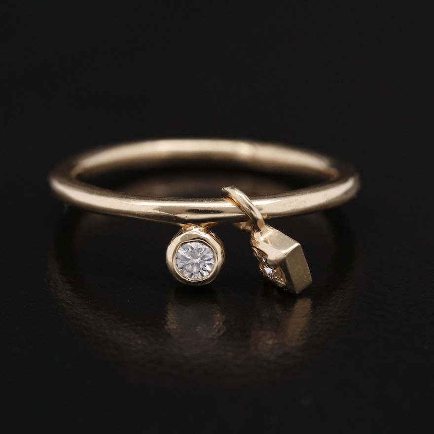 14K Diamond Ring with Charm