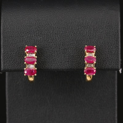 10K Ruby and Diamond Earrings