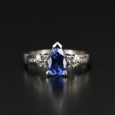 14K 1.77 CT Sapphire and Diamond Teardrop Ring