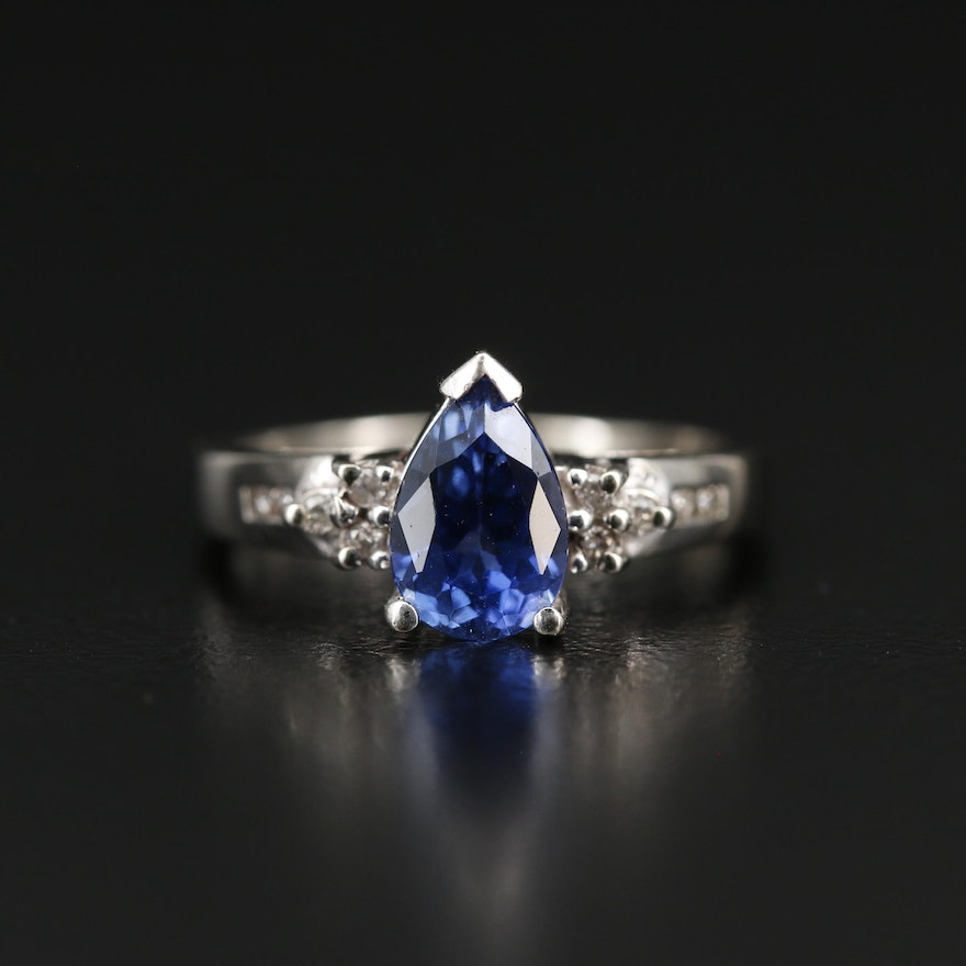 14K 1.77 CT Sapphire and Diamond Teardrop Ring