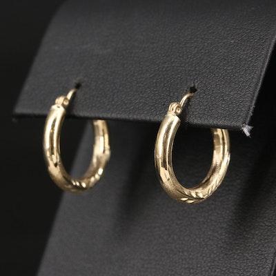 14K Diamond Cut Hoop Earrings