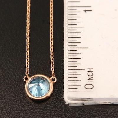 18K Rose Gold Bezel Set 1.20 CTW Diamond Pendant Necklace