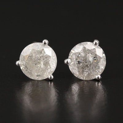 14K Round Brilliant Cut 4.08 CTW Diamond Stud Earrings