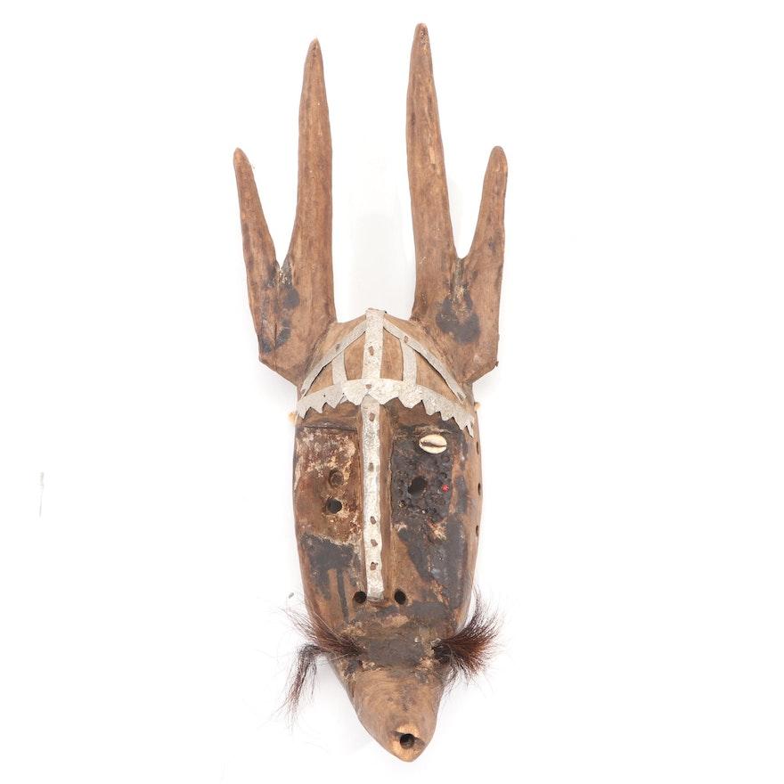 Marka Style Hand-Carved Wood Mask, Mali