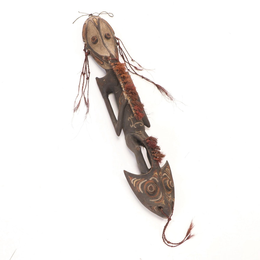Sepik River Region Polychrome Carved Wood Hook Figure, Papua New Guinea