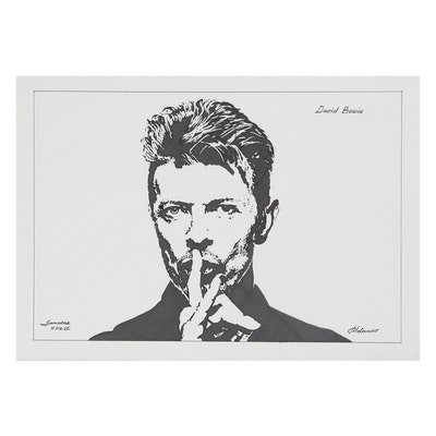 "Pen and Ink Portrait Drawing ""David Bowie"", 2020"