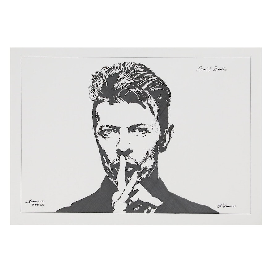 """Pen and Ink Portrait Drawing """"David Bowie"""", 2020"""