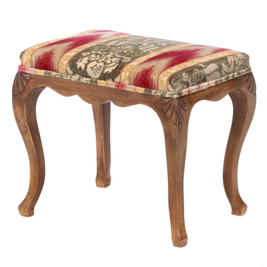 Custom-Upholstered Hardwood Stool, 20th Century