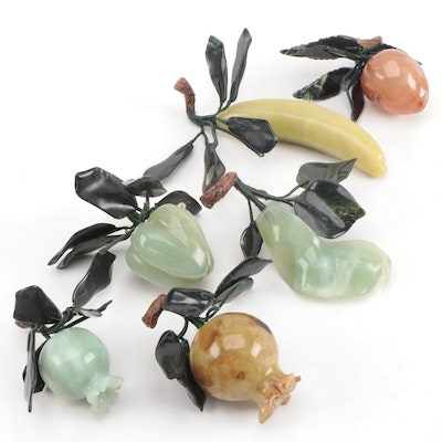 Chinese Carved Serpentine and Agate Pomegranates and Other Fruit