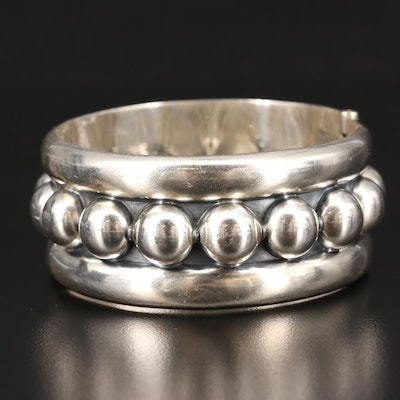 Mexican Sterling Silver Hinged Bangle Bracelet