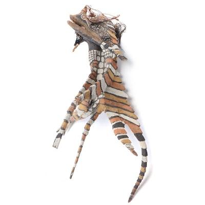 Sepik River Region Carved Wood Polychrome Animal Motif Sculpture