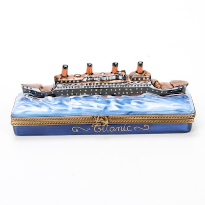 La Gloriette Hand-Painted Titanic Ship Porcelain Limoges Box
