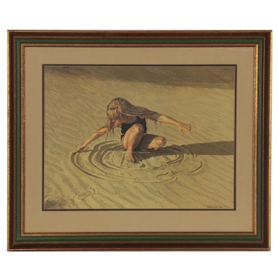 "Lunda Hoyle Gill Offset Lithograph ""Lundy at the Beach"""