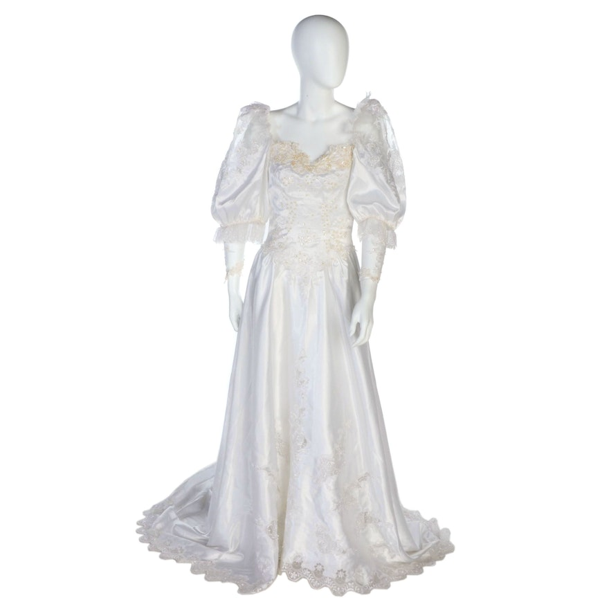 San-Martin Wedding Dress with Embellished Lace in White, Vintage