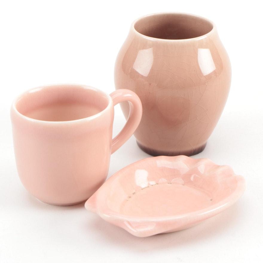 Rookwood Pottery Pink Glazed Ashtray, Vase and Mug, Mid-20th Century