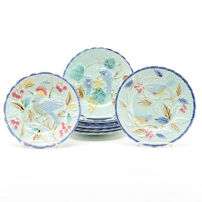"""Pottery Barn """"Majolica"""" Bird Themed Ceramic Plates, 2016"""