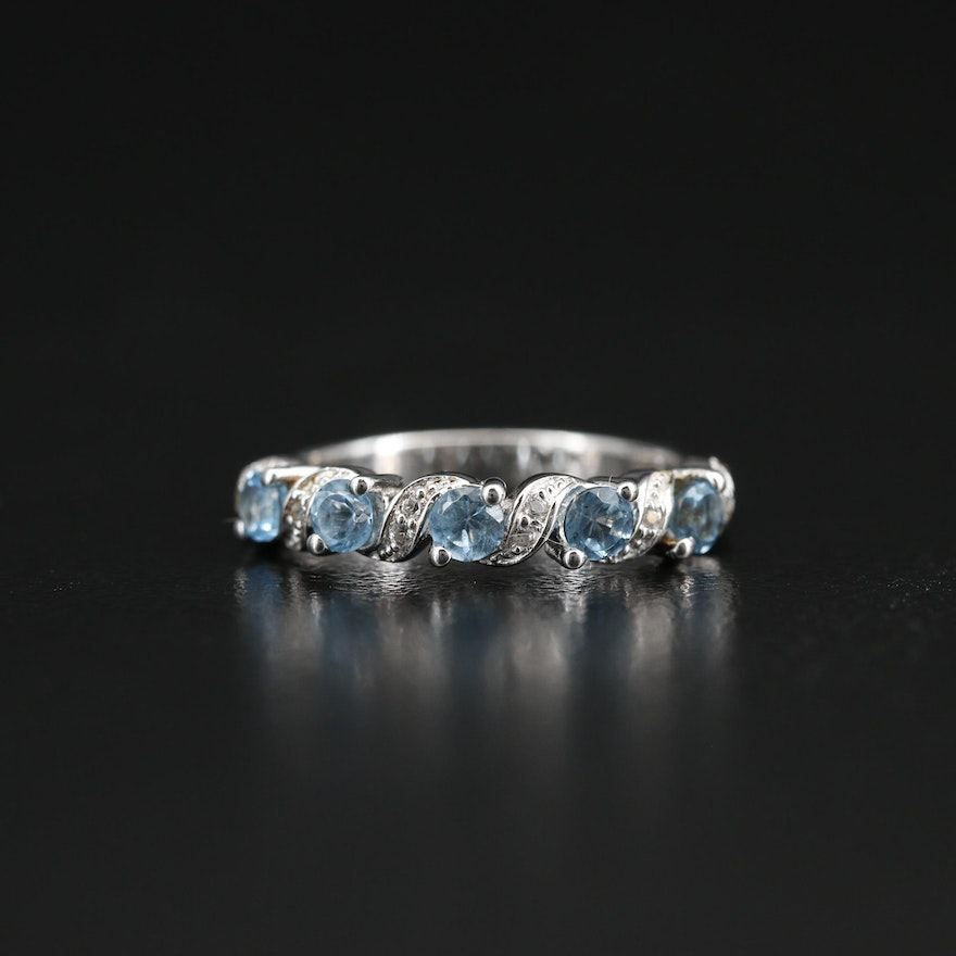 Sterling Topaz and Sapphire Band