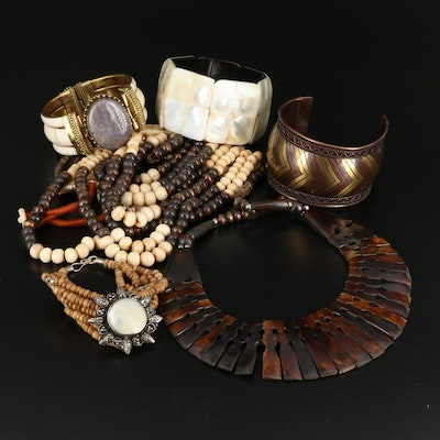 Selected Necklaces and Bracelets Featuring Jasper, Wood and Bone