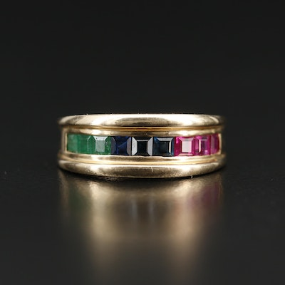 14K Channel Set Emerald, Sapphire and Ruby Band