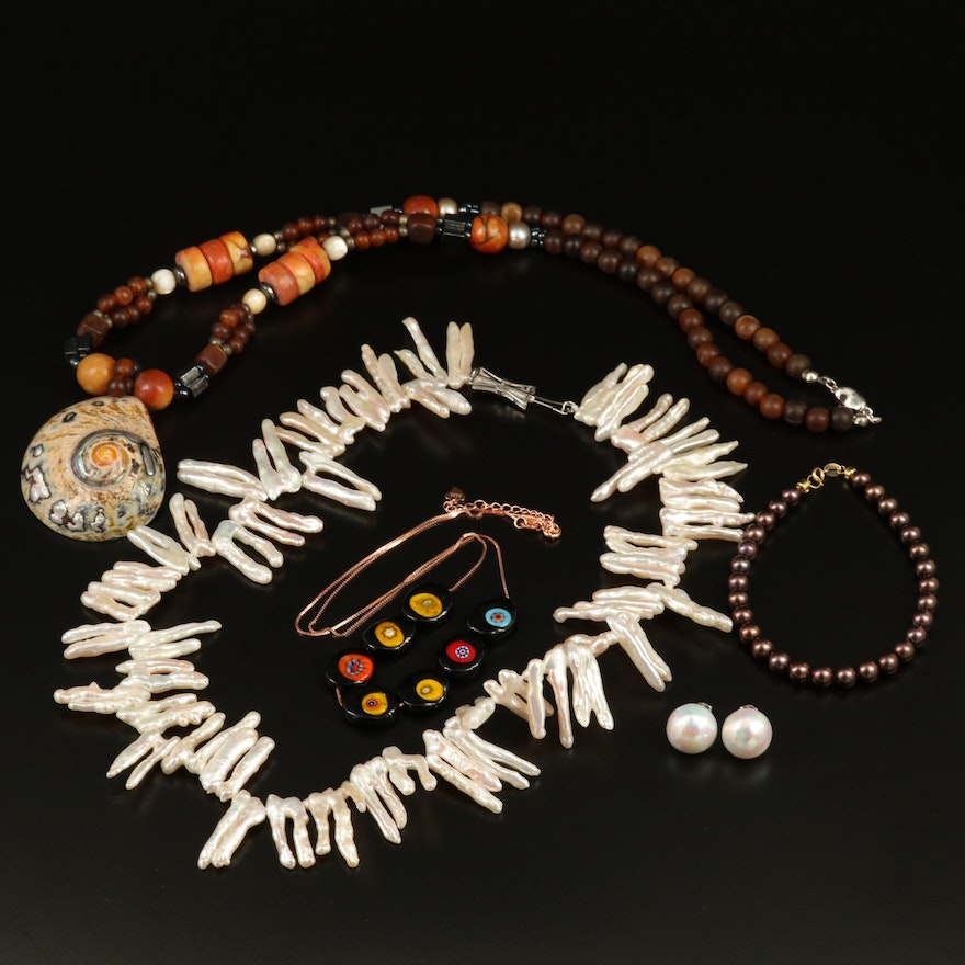 Necklaces, Earrings and 18K Clasped Bracelet Featuring Pearl and Shell