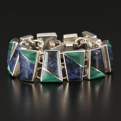 Mexican Sterling Silver Malachite and Sodalite Inlay Bracelet