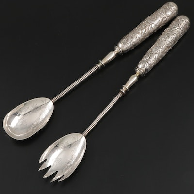 Wang Hing Coin Silver Salad Servers with Sterling Silver Handles