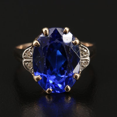 Vintage 10K Spinel and Diamond Ring