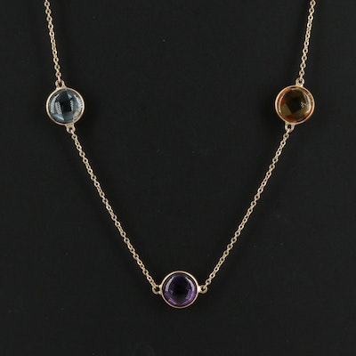 14K Multi Stone Station  Necklace Including Topaz and Amethyst
