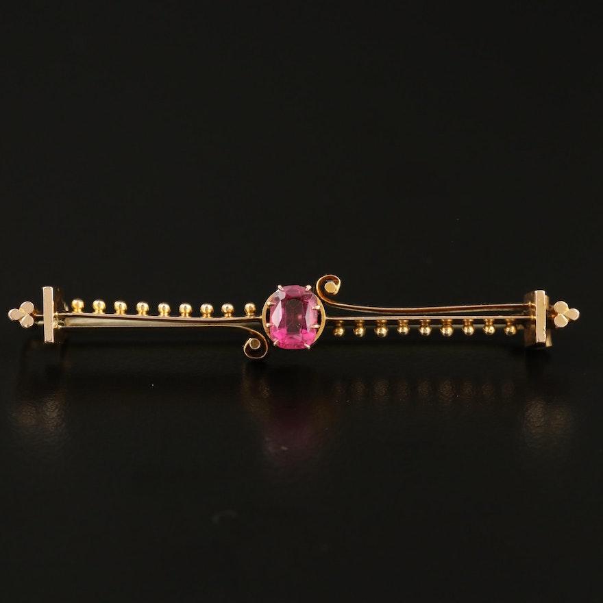 Antique 14K Garnet Glass Doublet Bar Brooch