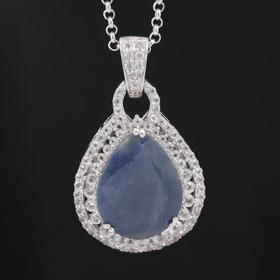Sterling Corundum and Sapphire Necklace