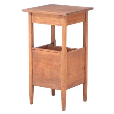 American Primitive Mixed Wood Side Table with Book Trough, Early 20th Century